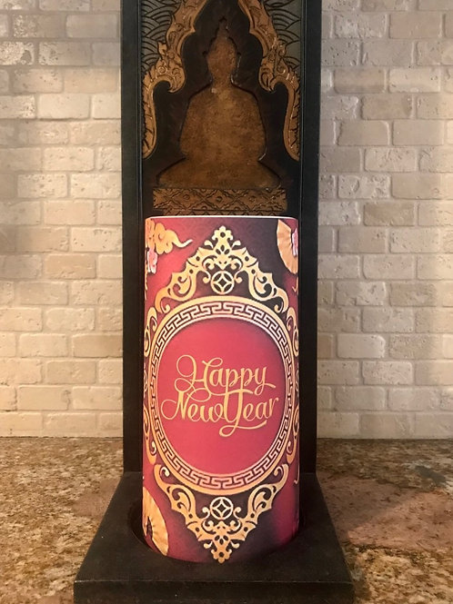 Happy New Year, Tall,  Flameless Candle, 4x8, Keleka Designs