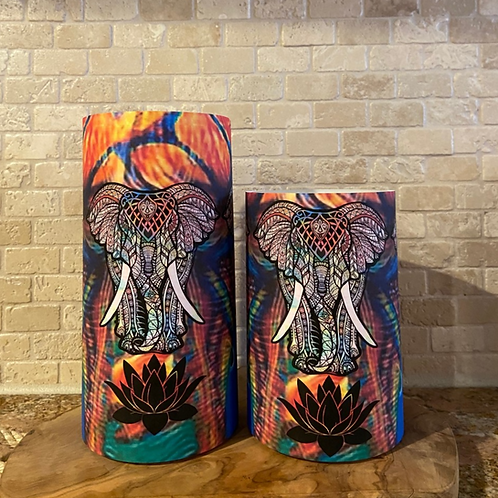 Lotus Colorful Elephant, Set, Flameless Candle, 4x6, 4x8, Keleka Designs