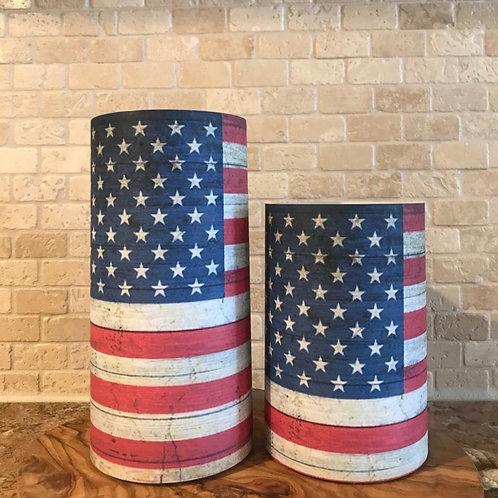 Americana Flag, Set, Flameless Candle, 4x6,4x8, Keleka Designs