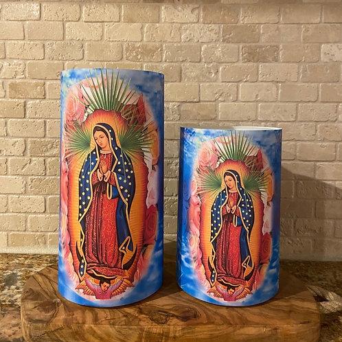 Virgen De Guadalupe, Set, Flameless Candle, 4x6, 4x8, Keleka Designs