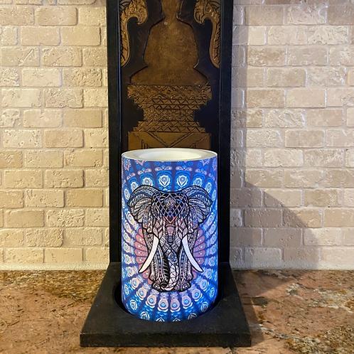 Elephant & Lotus,  Flameless Candle, 4x6, Keleka Designs