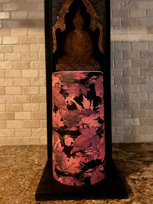 Falling Leaves, Tall,  Flameless Candle, 4x8, Keleka Designs