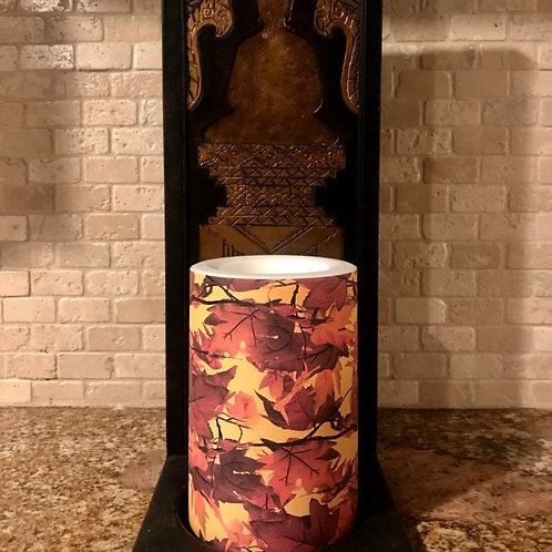 Falling Leaves,  Flameless Candle, 4x6, Keleka Designs