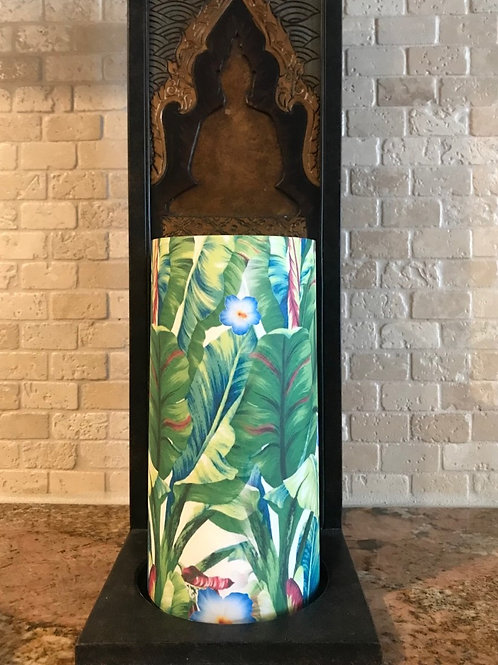 Luxurious Palms, Tall, Flameless Candle, 4x8, Keleka Designs