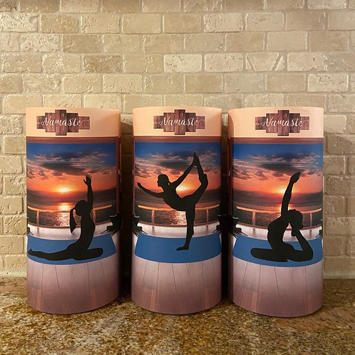 Namaste, Tall, Flameless Candle, 4x8, Keleka Designs