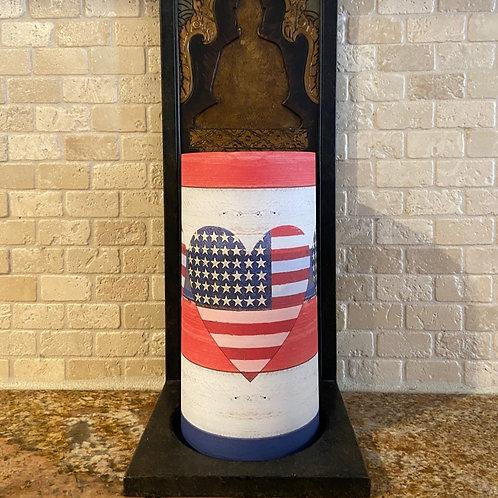 American Flag & Hearts, Tall, Flameless Candle, 4x8, Keleka Designs
