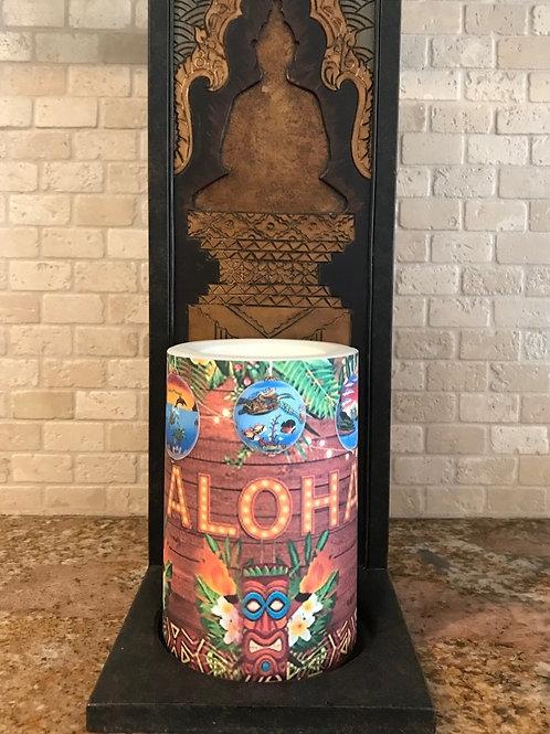 Aloha Christmas,  Flameless Candle, 4x6, Keleka Designs