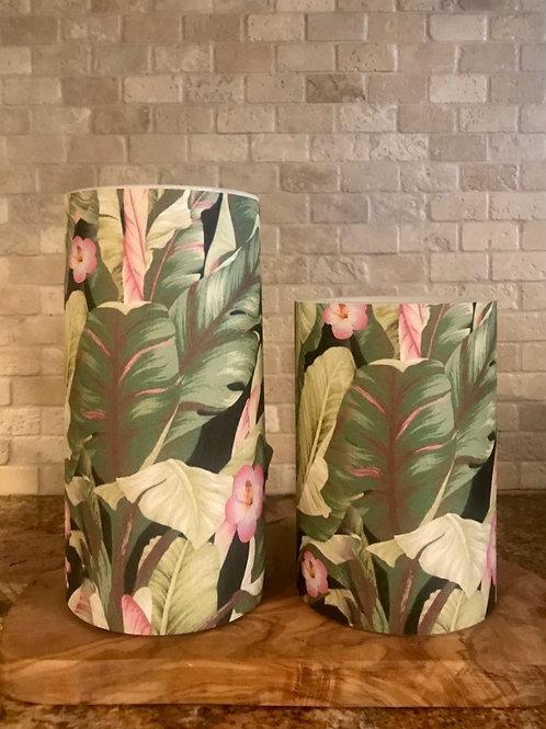 Tropical Palms & Hibiscus Set, Flameless Candle, 4x6, 4x8 Keleka Designs