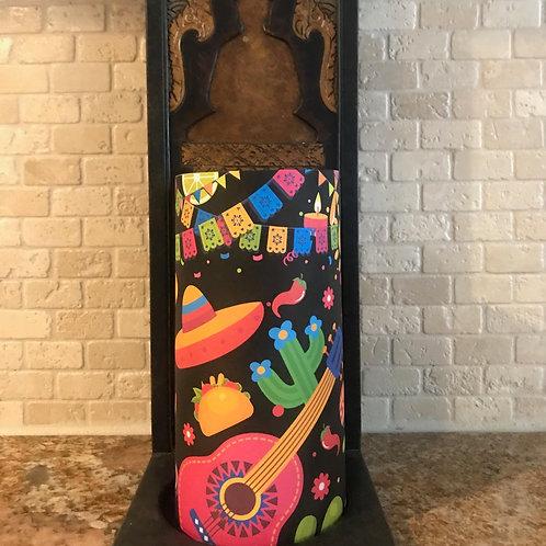 Fiesta, Tall, Flameless Candle, 4x8, Keleka Designs