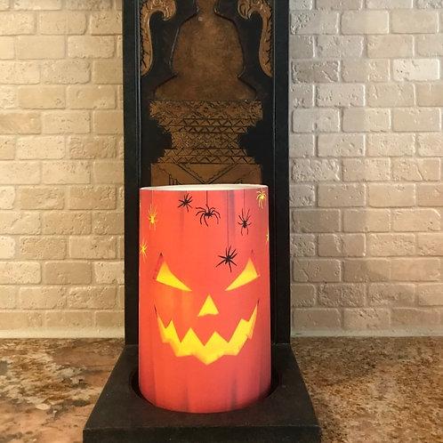 Carved Pumpkin, Flameless Candle, 4x6, Keleka Designs