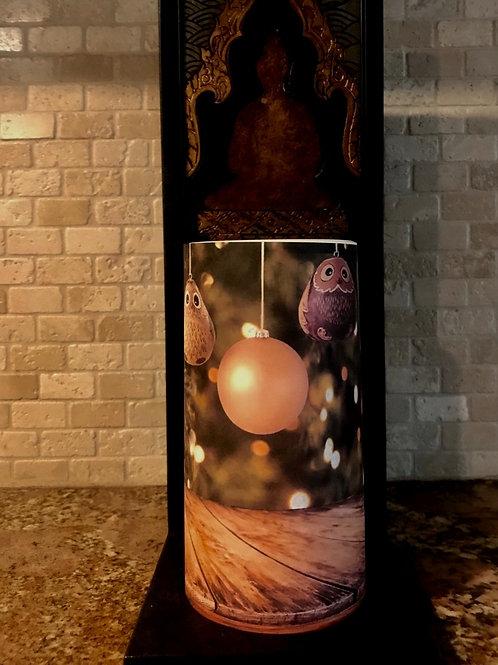 Rustic Holiday Owl Tall,  Flameless Candle, 4x8, Keleka Designs
