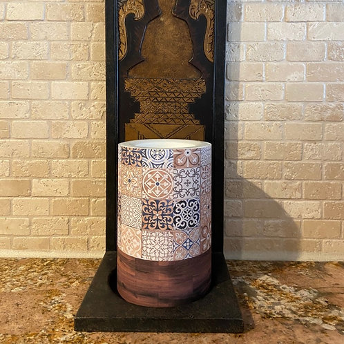 Boho Tile & Wood, Tall, Flameless Candle,  4x6, Keleka Designs