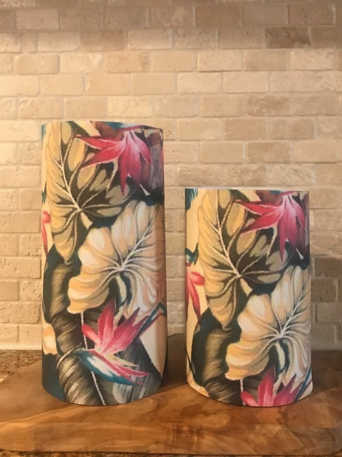 Painted Palms, Set, Flameless Candle, 4x8, Keleka Designs