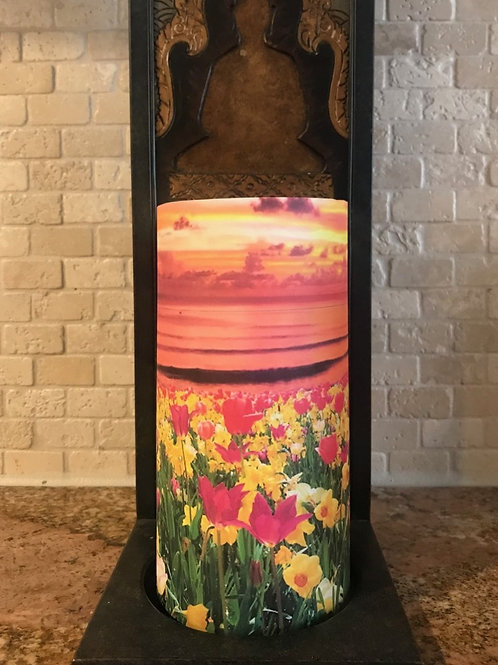 Blooming Sea, Tall,  Flameless Candle, 4x8, Keleka Designs