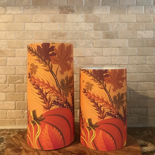 Pumpkin of Fall, Set, Flameless Candle ,4x6, 4x8, Keleka Designs