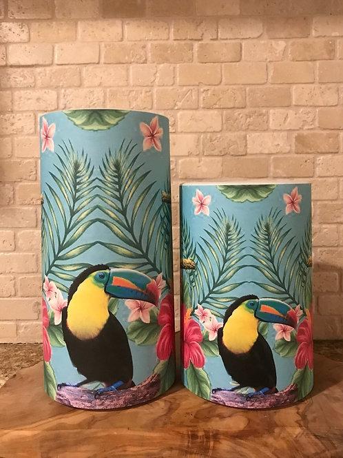 Toucan Tropical Set, Flameless Candles, 4x6,4x8, Keleka Designs