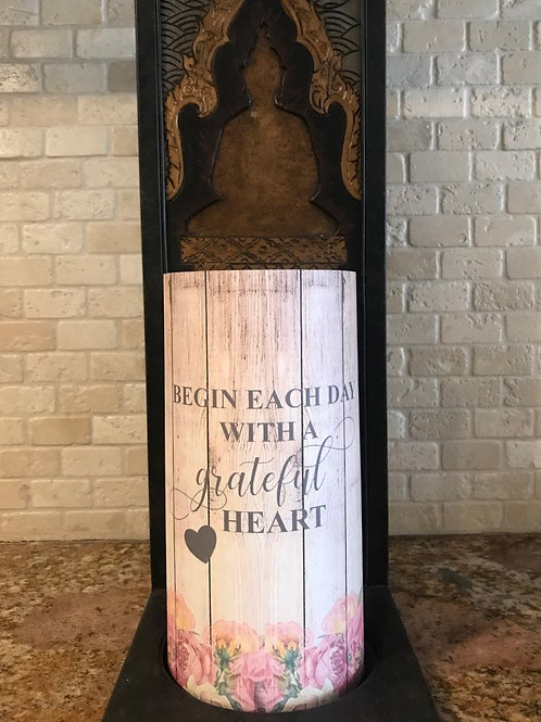 Grateful Heart, Tall,  Flameless Candle, 4x8, Keleka Designs