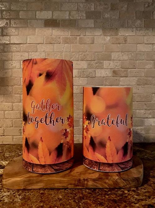 Gather Together & Grateful Fall Set, Flameless Candle, 4x6, 4x8, Keleka Designs