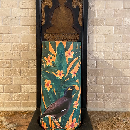 Tropical Myna, Tall,  Flameless Candle, 4x8, Keleka Designs