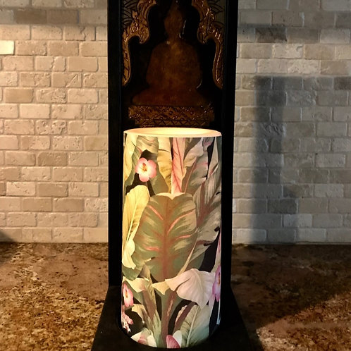 Tropical Palms & Hibiscus, Flameless Candle, 4x8, Keleka Designs