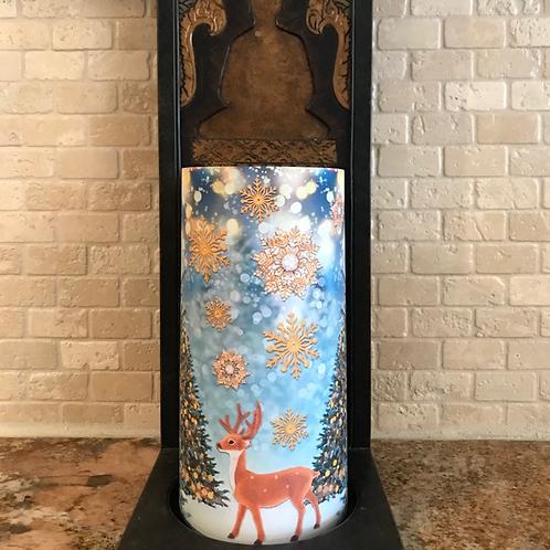 Charming Winter, Tall, Flameless Candle , 4x8, Keleka Designs