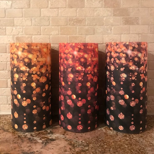 Holiday Sparkle, Tall, Flameless Candle,  4x8, Keleka Designs