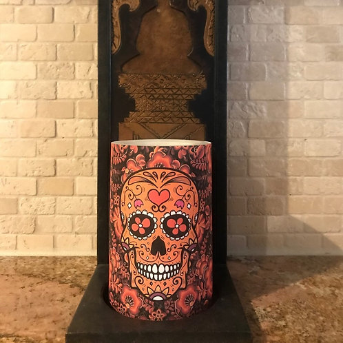 Sugar Skull of Lights,  Flameless Candle, 4x6, Keleka Designs