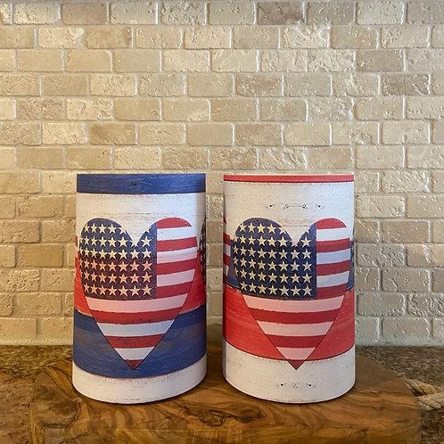 American Flag & Hearts, Set, Flameless Candle, 4x6, 4x6, Keleka Designs
