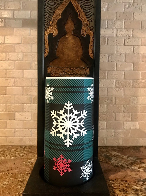 Snowflakes and plaid, Tall,  Flameless Candle, 4x8, Keleka Designs