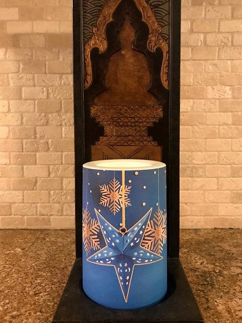 Dreamy Snowflakes,  Flameless Candle, 4x6, Keleka Designs