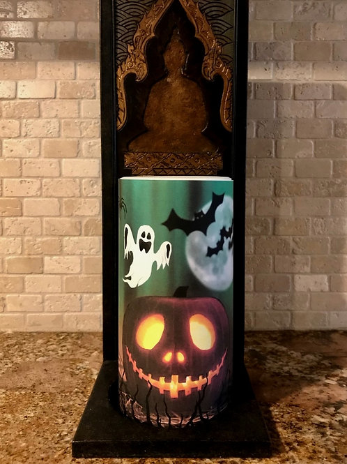 Jack O Lantern, Tall,  Flameless Candle, 4x8, Keleka Designs