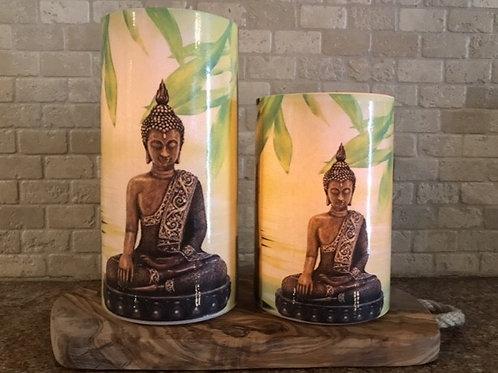 Buddha Set Flameless Candles, 4x6, 4x8 Keleka Designs