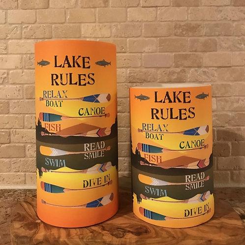 The Lake Rules, Set, Flameless Candle, 4x6, 4x8, Keleka Designs