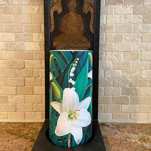 Tropical Lily, Tall,  Flameless Candle, 4x8, Keleka Designs