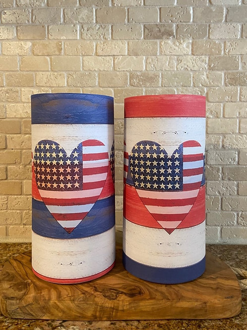 American Flag & Hearts, Set, Flameless Candle, 4x8, 4x8, Keleka Designs