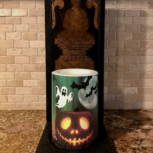 Jack O Lantern,  Flameless Candle, 4x6, Keleka Designs