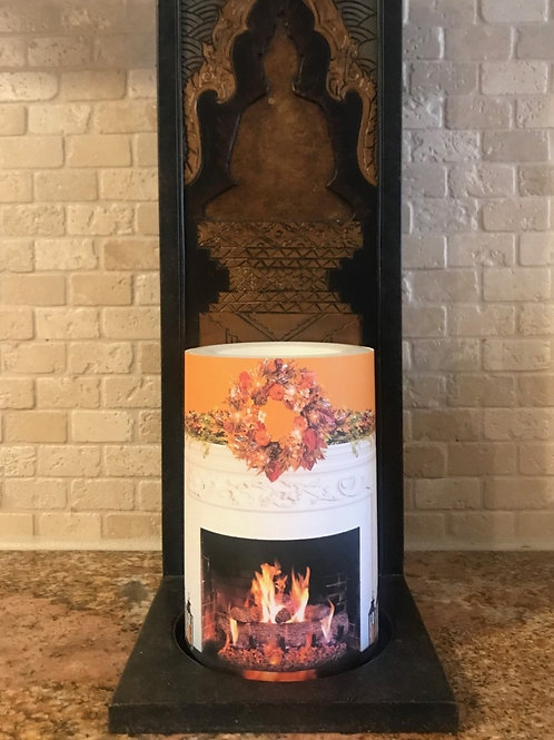 Fall Fireplace Mantel,  Flameless Candle, 4x6, Keleka Designs