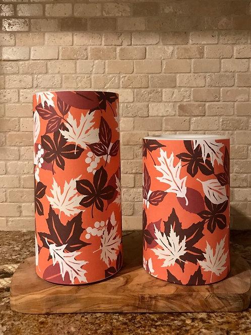 Leaves of Fall, Set, Flameless Candle, 4x6, 4x8, Keleka Designs