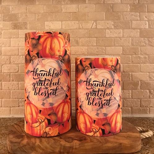 Thankful Pumpkin Spice, Set, Flameless Candle ,4x6, 4x8, Keleka Designs