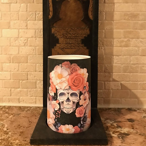 Sugar Skull Spice, Flameless Candle, 4x6, Keleka Designs