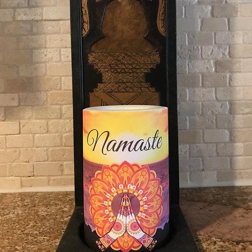 Namaste Sunset, Flameless Candle, 4x6, Keleka Designs