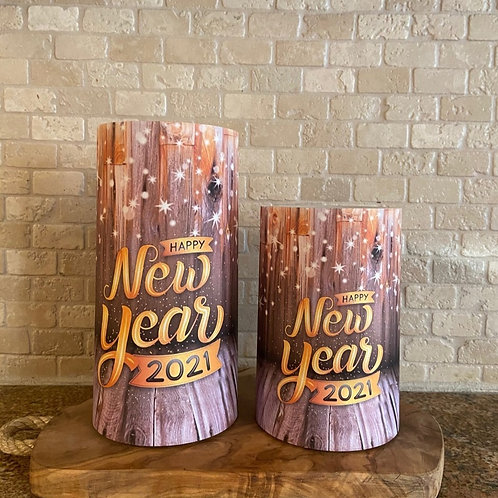 Happy New Year 2021, Set, Flameless Candle, 4x6, 4x8, Keleka Designs