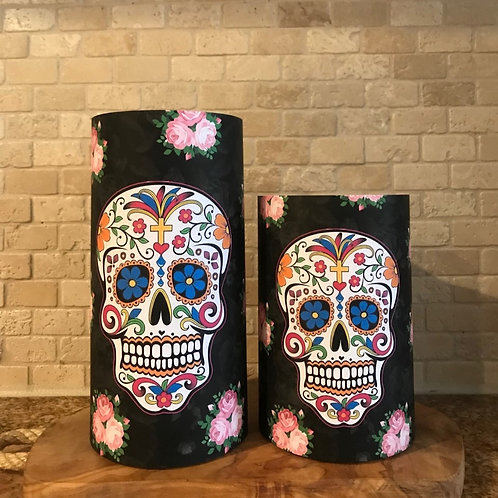 Sweet Sugar Skull, Set, Flameless Candle, 4x6, 4x8, Keleka Designs