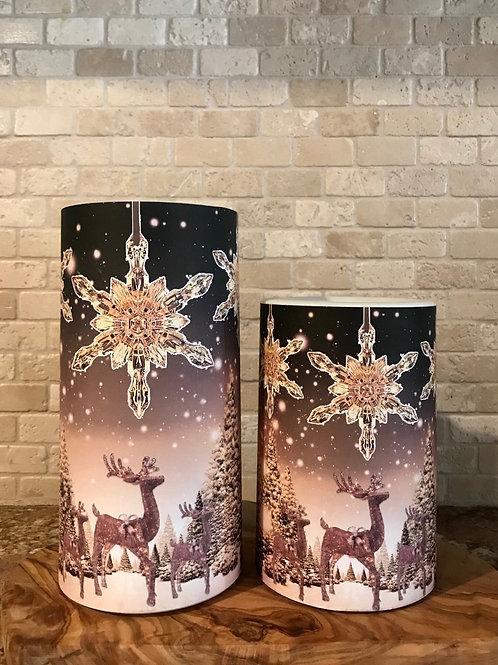 Sparkling Reindeer's, Set, Flameless Candle, 4x6, 4x8, Keleka Designs