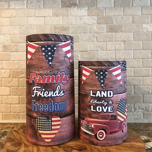 Freedom and Love Set, Dark Wood, Flameless Candle, 4x6, 4x8, Keleka Designs