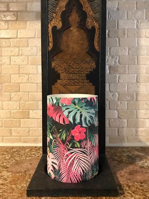 Pink Palms, Flameless Candle, 4x6, Keleka Designs