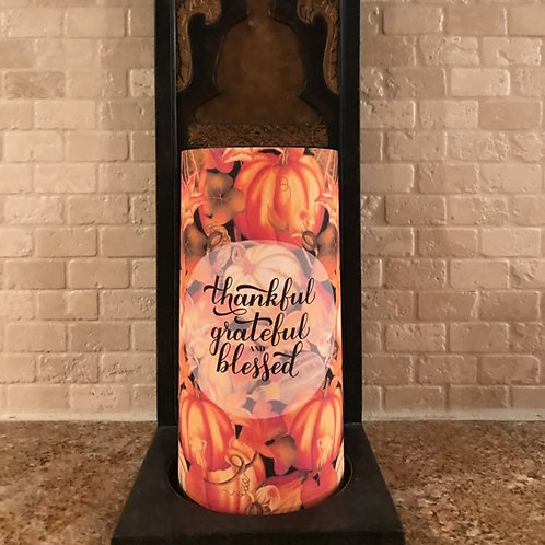 Thankful Pumpkin Spice, Tall, Flameless Candle , 4x8, Keleka Designs