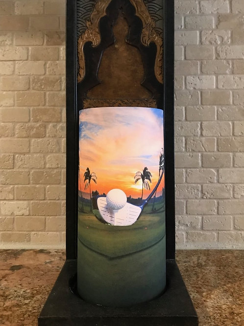 Golf in Paradise, Tall, Flameless Candle, 4x8, Keleka Designs