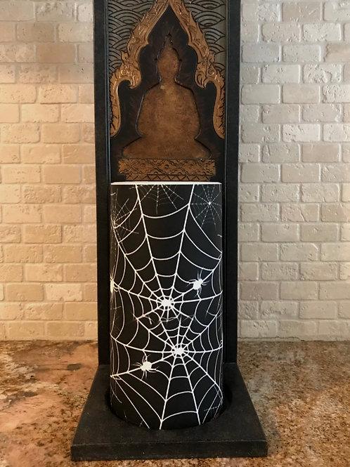 Spooky Webs, Tall,  Flameless Candle, 4x8, Keleka Designs