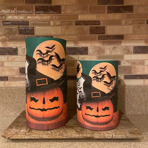 Witchy Pumpkin, Set, Flameless Candle, 4x6,4x8, Keleka Designs